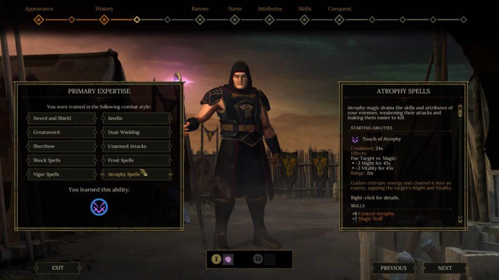 Tyranny's character creation screenshot.