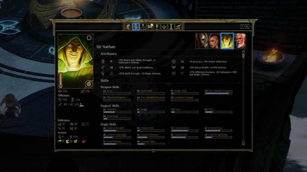 Tyranny Character Sheet screenshot.