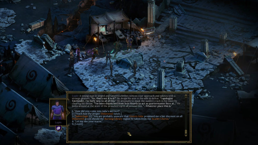Tyranny Dialogue Options and Reputation screenshot.