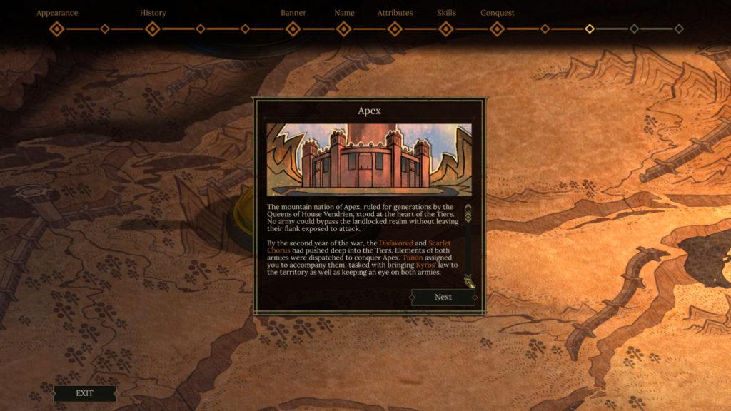 Tyranny's Fatebinder Background Story screenshot.