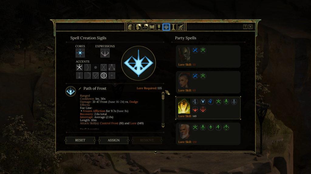 Tyranny Spell Creation screenshot.